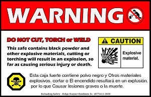 Gun Safe Sticker Magnet - Explosion Warning Do Not Cut or Weld